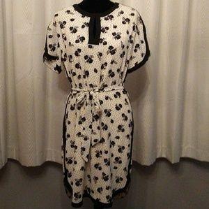 Black Morning Glories/Polka Dots on Cream Dress